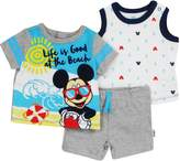 "GiftsNBeyond Disney Newborn Boys Mickey Mouse ""Life is Good"" 3 Piece Short Set Grey/Aqua 6-9M"