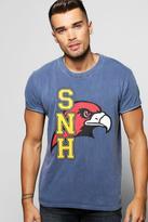 Boohoo Overdye Wash Front Print T-Shirt