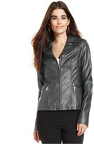 Alfani Long-Sleeve Quilted Faux-Leather Jacket