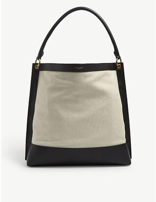 Saint Laurent Colour-block leather and canvas hobo bag