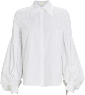 Sara Battaglia Blouson Sleeve Button-Down Shirt