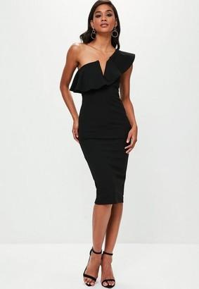 Missguided Black One Shoulder Ruffle Midi Dress