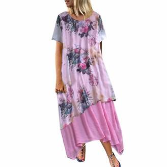 Beetlenew Womens Dress Women Vintage Dress Plus Size Summer Boho Loose Double Layer Irregular Hem Floral Dress Casual Beach A-Line Sundress Linen Long Maxi Dresses Retro Flower Print Short Sleeve T-Shirt Dress Pink