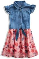 GUESS Cap-Sleeve Chambray Two-Fer Dress (2-6x)