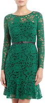 Donna Morgan Lace Fit-And-Flare Dress, Hunter Green