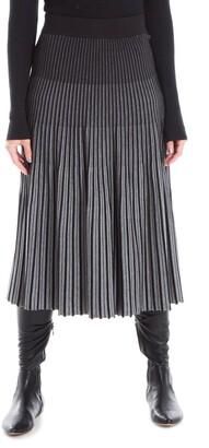 Max Studio Pleated Midi Sweater Knit Skirt