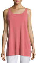 Eileen Fisher Sleeveless Scoop-Neck Lightweight Jersey Tank, Sandstone, Petite