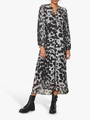 Mint Velvet Alexa Abstract Leopard Print Maxi Shirt Dress, Light Grey