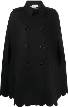 RED Valentino Double-Breasted Scallop-Hem Cape Coat