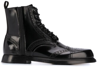 Dolce & Gabbana Brogue Lace-Up Boots