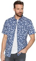 M&Co Blue flower print short sleeve shirt
