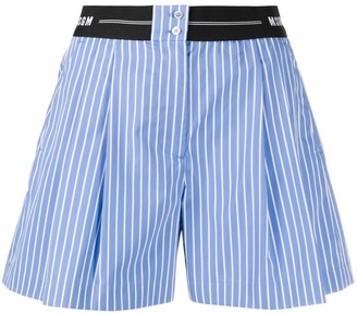 MSGM Logo-Waistband Striped Shorts