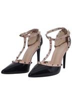 AX Paris Black Pointed Toe Studded Stiletto Heels