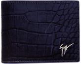 Giuseppe Zanotti Navy Velvet Croc-embossed Wallet