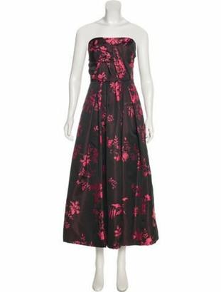 Oscar de la Renta Floral Print Dress Black