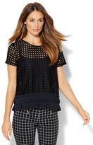 New York & Co. Fringe Open-Weave T-Shirt