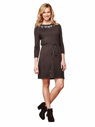 Yumi Embroidered Tie Waist Dress Dark Grey