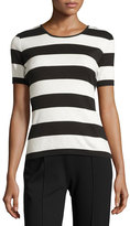 Escada Striped Short-Sleeve Cotton Tee, Navy