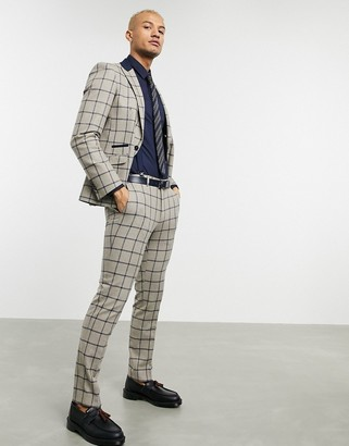 Shelby & Sons slim suit pants in brown with navy windowpane check