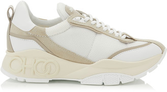 Jimmy Choo RAINE White and Moon Suede Leather Mix and Mesh Lace Up Sneakers
