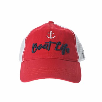 Pavilion Gift Company Boat Life-One Size Fits Most Lake Or Beach Mesh Adjustable Snapback Baseball H