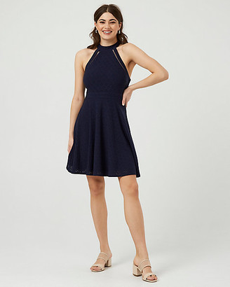 Le Château Eyelet Knit Illusion Halter Neck Dress