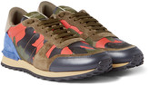 Valentino - Camouflage-print Canvas, Leather And Suede Sneakers