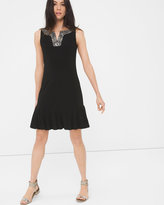 White House Black Market Embellished Pleat-Hem Dress