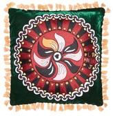 La DoubleJ Artemis Small Embroidered Velvet Cushion - Black Print