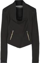 Roland Mouret Mensa Basketweave Cotton-blend Biker Jacket - Black