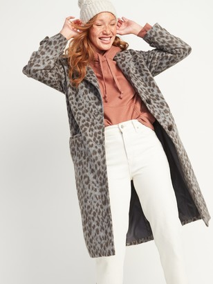 Old Navy Oversized Soft-Brushed Leopard-Print Coat for Women