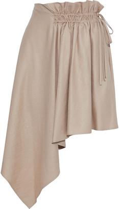 ADEAM Asymmetric Gathered Shantung Mini Skirt