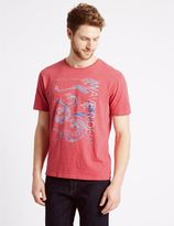 Marks and Spencer Pure Cotton Printed Crew Neck T-Shirt