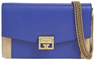 Givenchy Blue And Tan Gv3 Wallet On Chain Bag