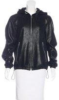 Sandro Leather Hoodie Jacket