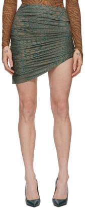MAISIE WILEN Brown and Blue Leopard Miniskirt