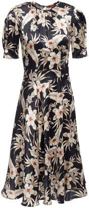 Altuzarra Gathered Floral-print Stretch-silk Satin Midi Dress