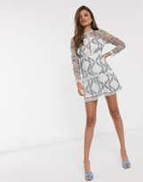 Asos Design DESIGN long sleeve tiered mini dress in blue embroidered floral mesh in white base