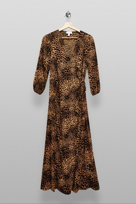 Topshop Womens Tall Natural Animal Print Kimono Wrap Midi Dress - Natural