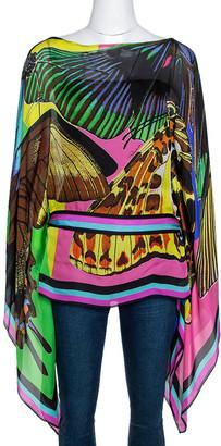 Roberto Cavalli Multicolor Butterfly Print Silk Sheer Belted Kaftan Top M
