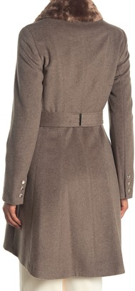 Calvin Klein Faux Fur Collar Belted Wool Blend Coat