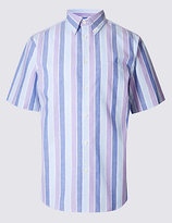 M&s Collection Cotton Rich Striped Shirt With Pocket