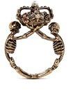 Alexander McQueen Skeleton faux pearl crown ring