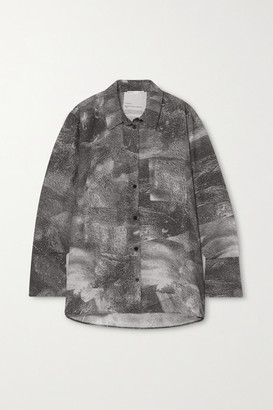 BITE Studios - Net Sustain Printed Organic Silk Crepe De Chine Shirt - Gray