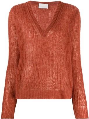 Chiara Bertani semi-sheer V-neck jumper