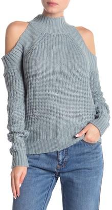 Poof Cold Shoulder Mock Neck Knit Sweater