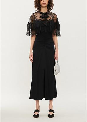 Self-Portrait Lace cape crepe midi dress