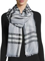 Burberry Metallic Gauze Giant Check Scarf, Blue