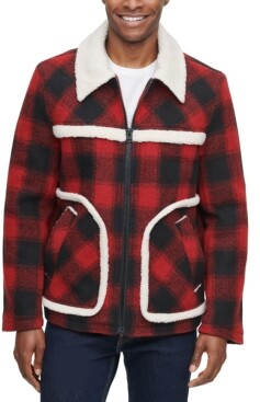 Levi's Men's Relaxed-Fit Plaid Fleece-Trimmed Rancher Jacket, Created for Macy's