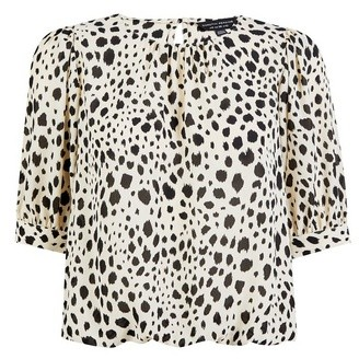 Dorothy Perkins Womens Monochrome Dalmatian Print Short Sleeve Blouse